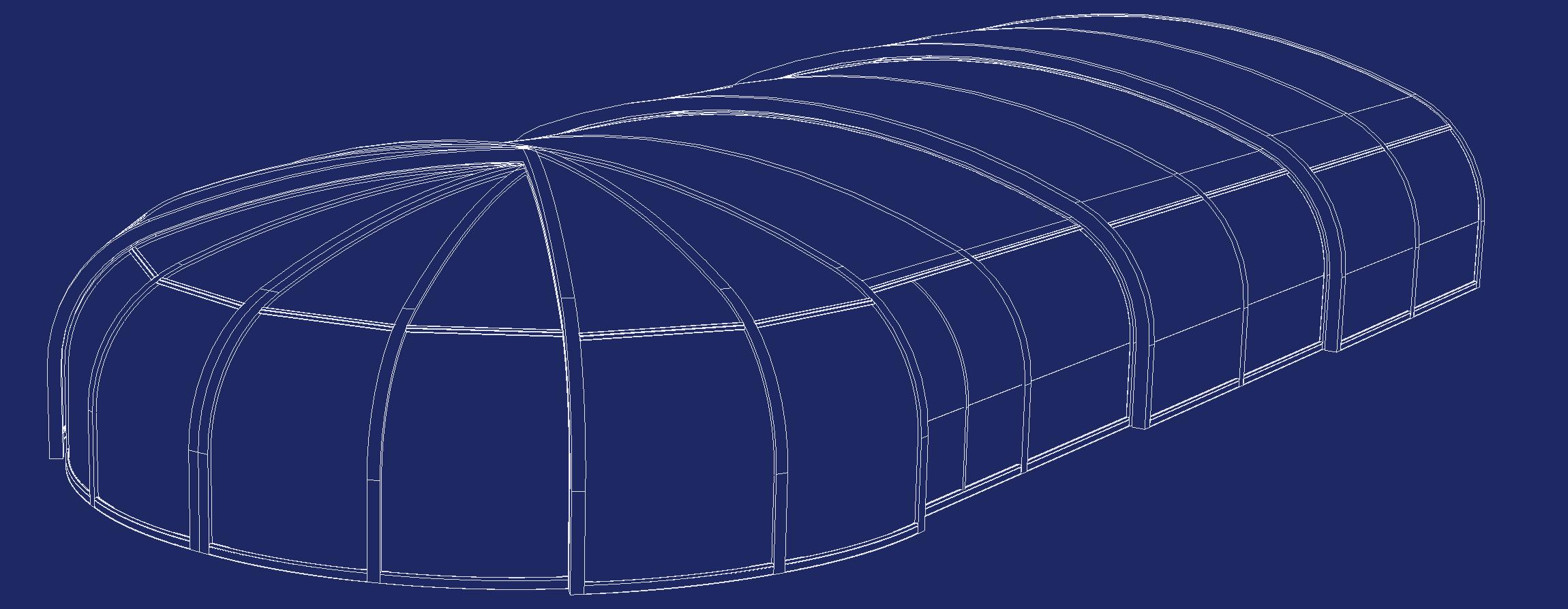 Abri piscine bois haut cintré rotonde schéma