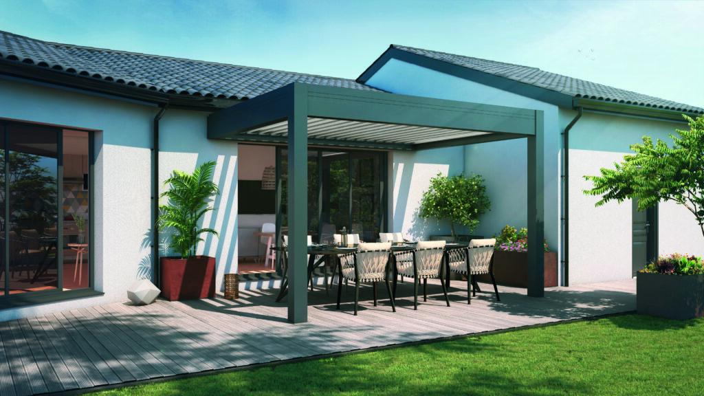 Pergola toiture à lames avec salon de jardin